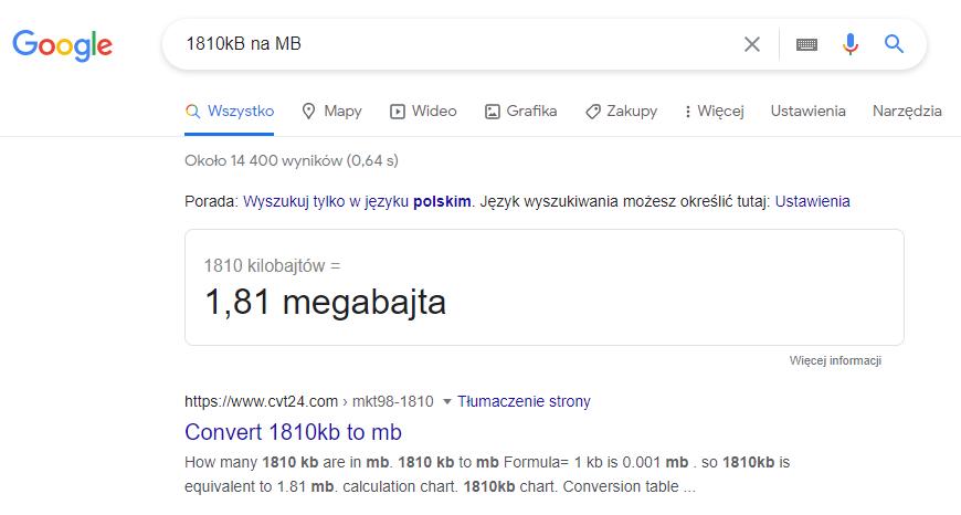 Przelicznik kilobajtów na megabajty w Google