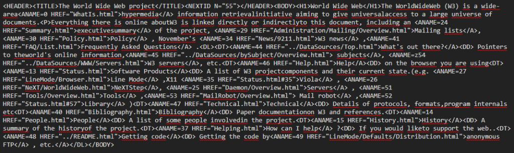 Kod HTML po minifikacji
