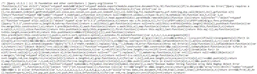 Kod JS po minifikacji