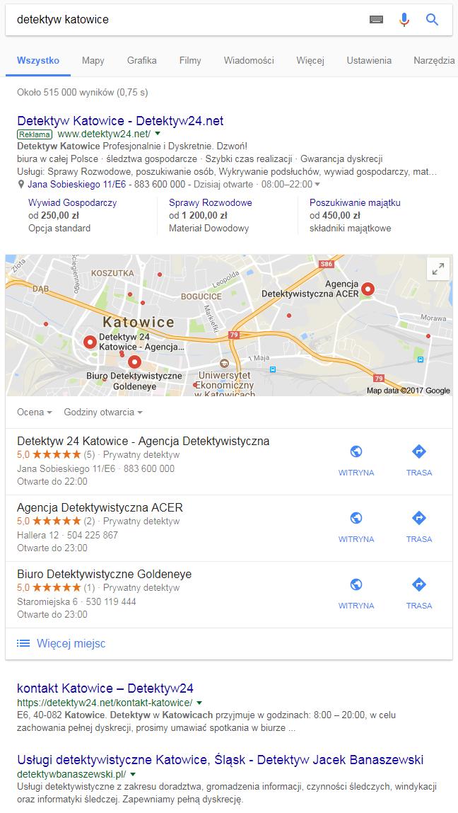 Wyniki wyszukiwania dla zapytania lokalnego detektyw Katowice