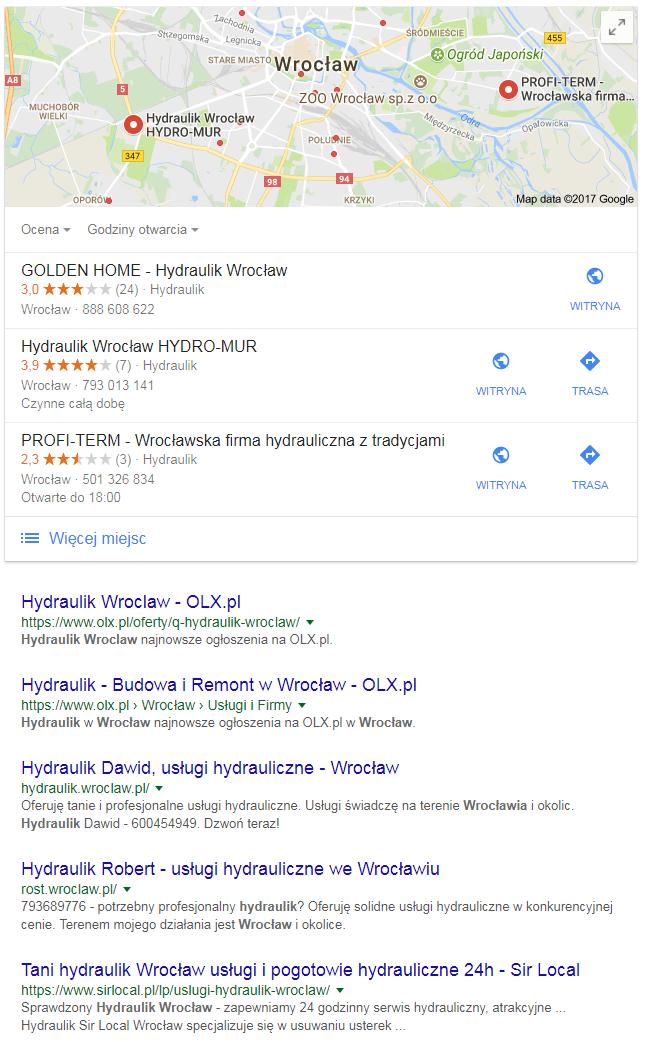Wyniki wyszukiwania dla zapytania lokalnego hydraulik Wrocław