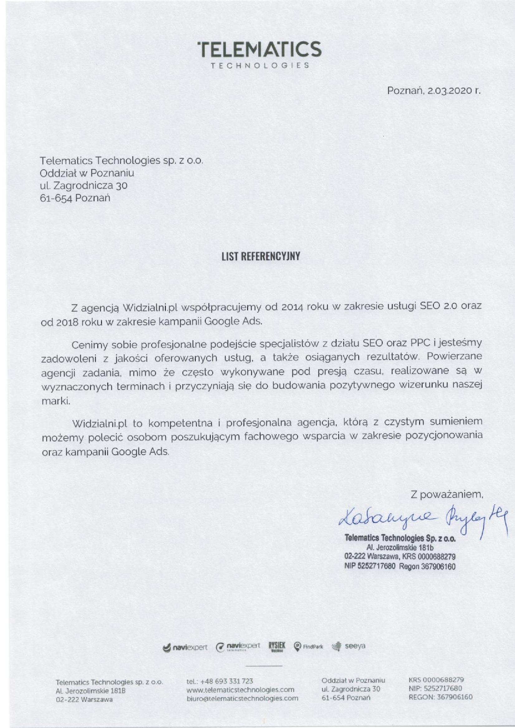 Referencje Telematics Technologies sp. z o.o. (dawniej NaviExpert sp. z o.o.)