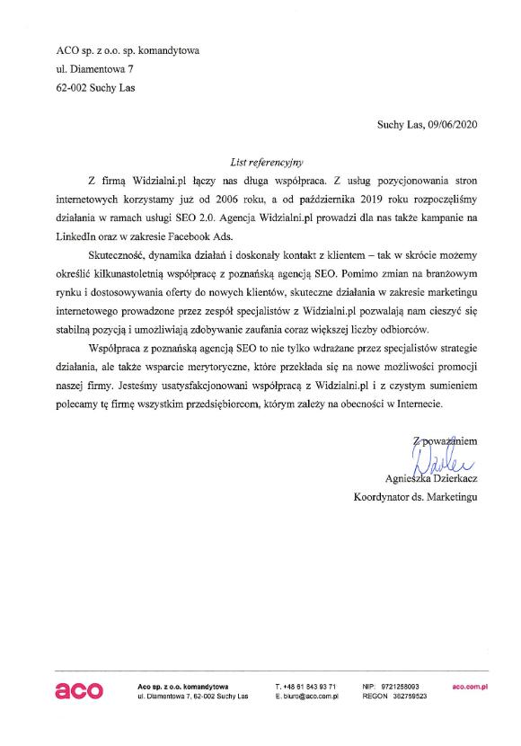 Referencje Widzialni.pl ACO Spółka z o.o. Spółka komandytowa