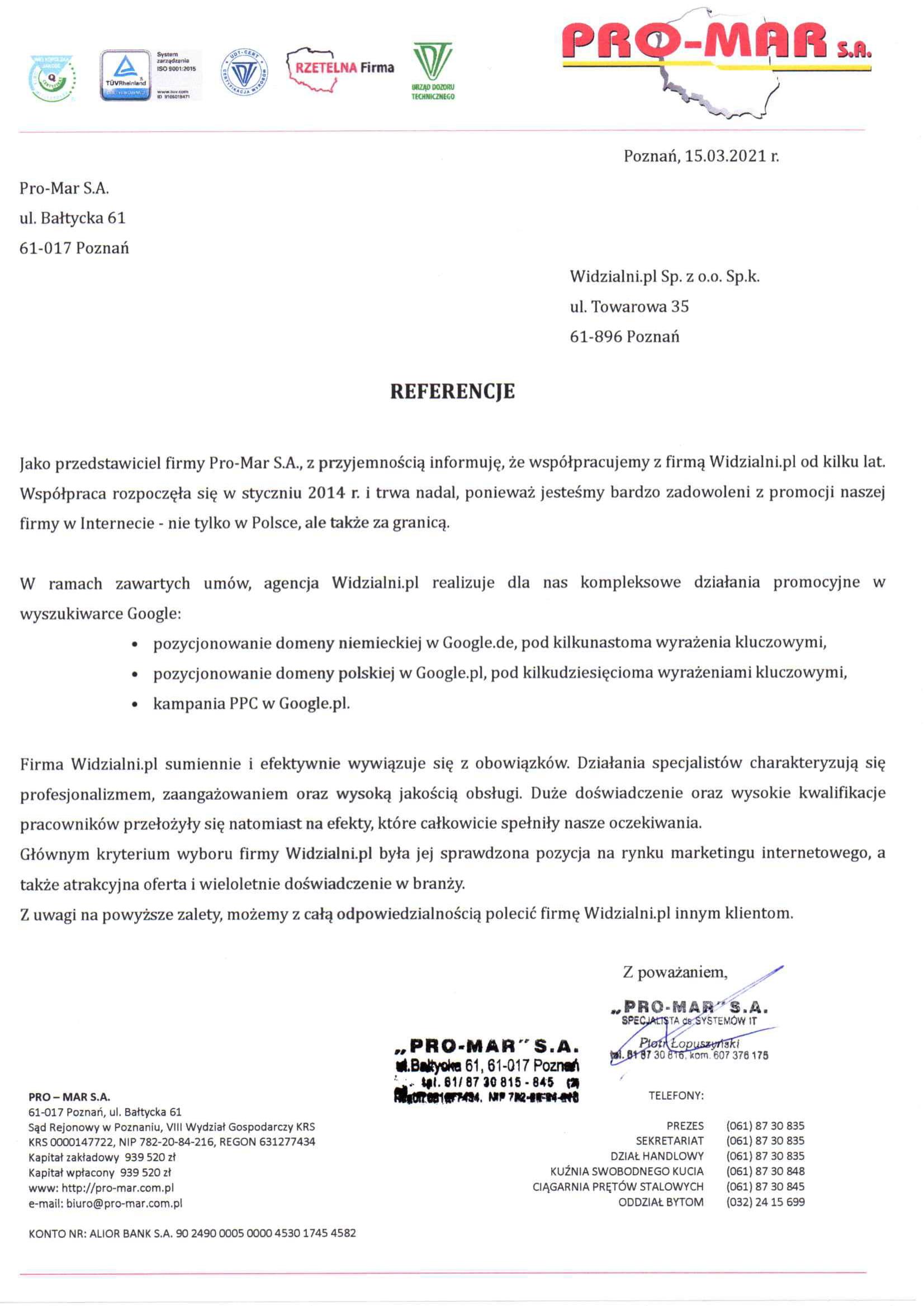 Referencje i opinie dla Widzialni.pl od PRO-MAR S.A.