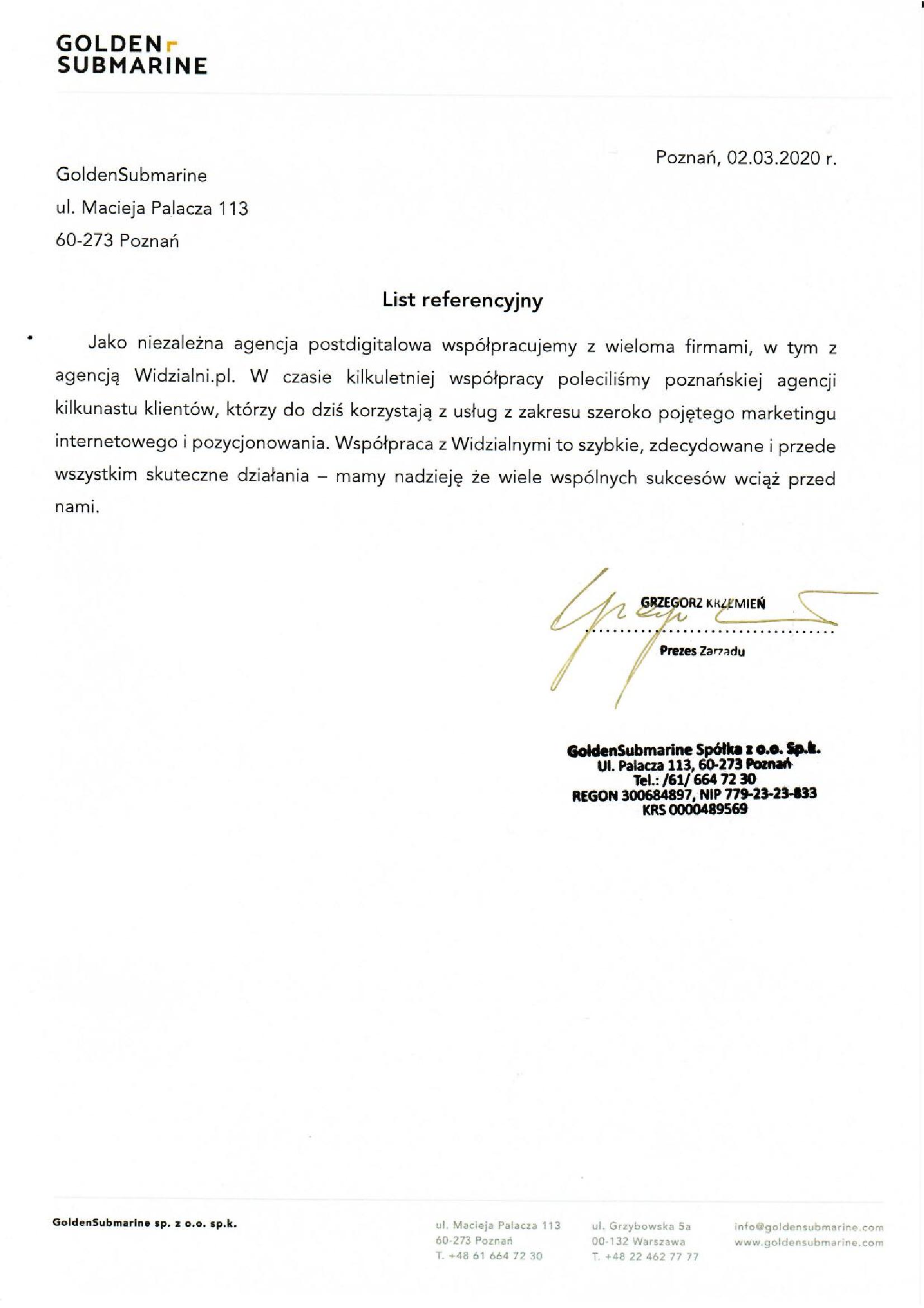 Referencje Widzialni.pl GoldenSubmarine Sp. z o.o. Sp.k.