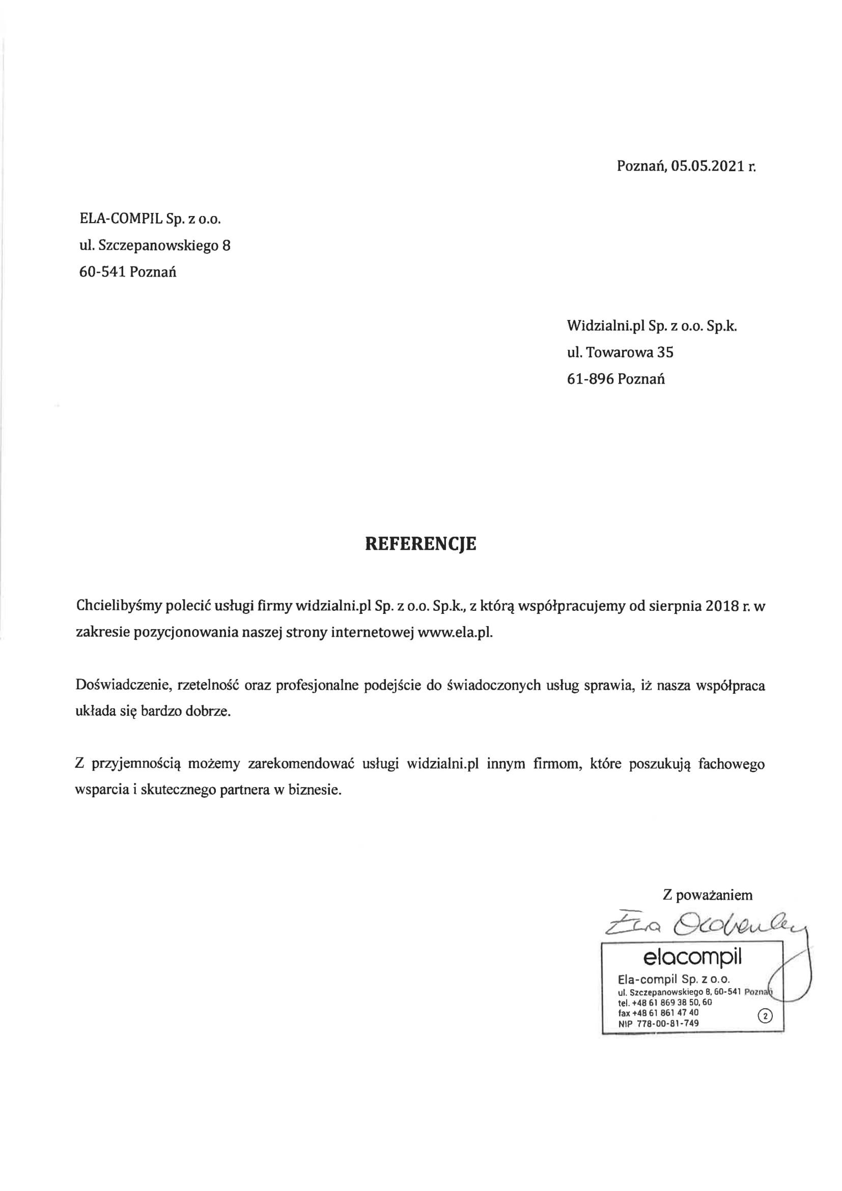 Referencje i opinie Widzialni.pl od ELA-COMPIL Sp. z o.o.
