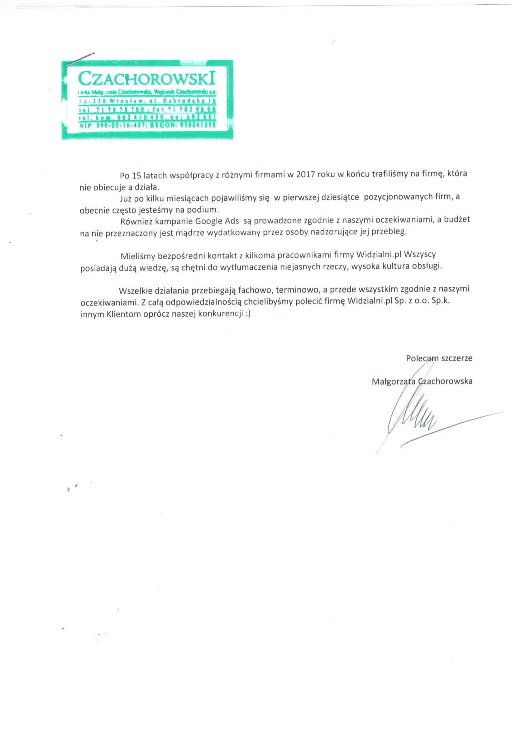 Referencje Czachorowski i s-ka Małgorzata Czachorowska Wojciech Czachorowski s.c.