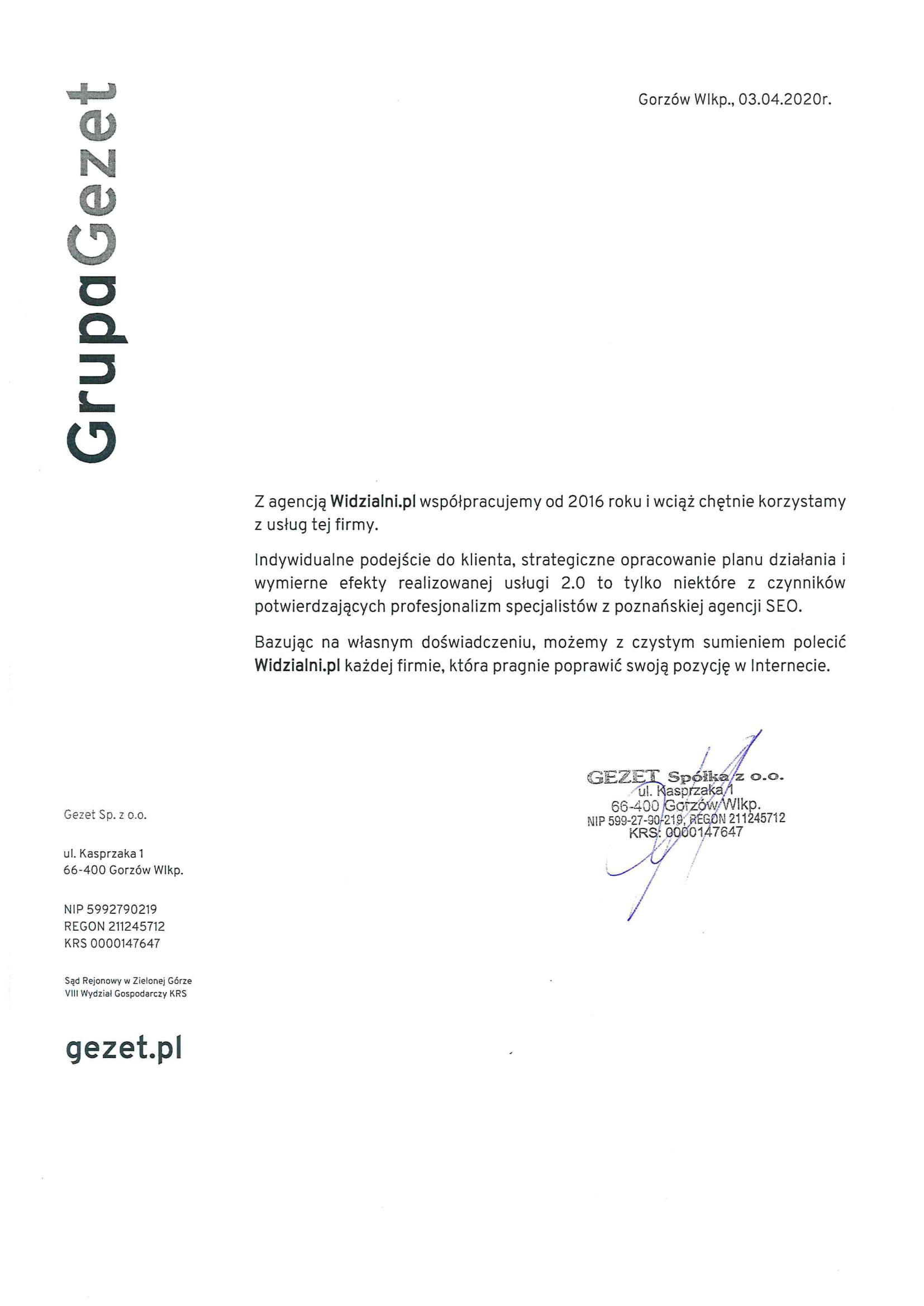 Referencje Widzialni.pl Gezet Sp.z o.o
