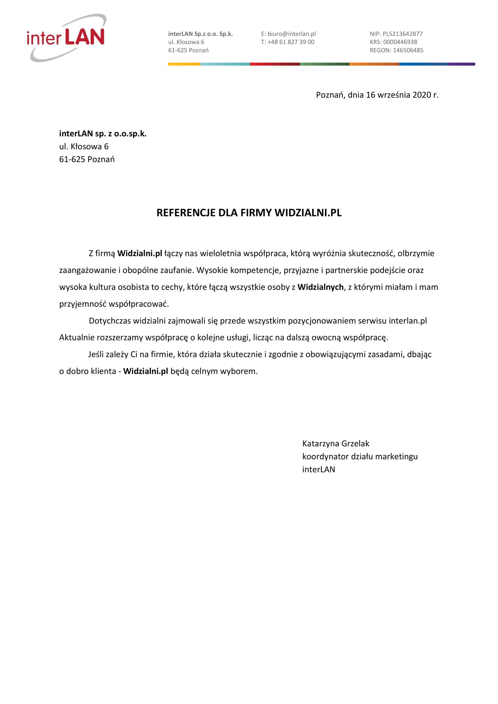 Referencje Widzialni.pl interLAN sp. z o.o.sp.k.