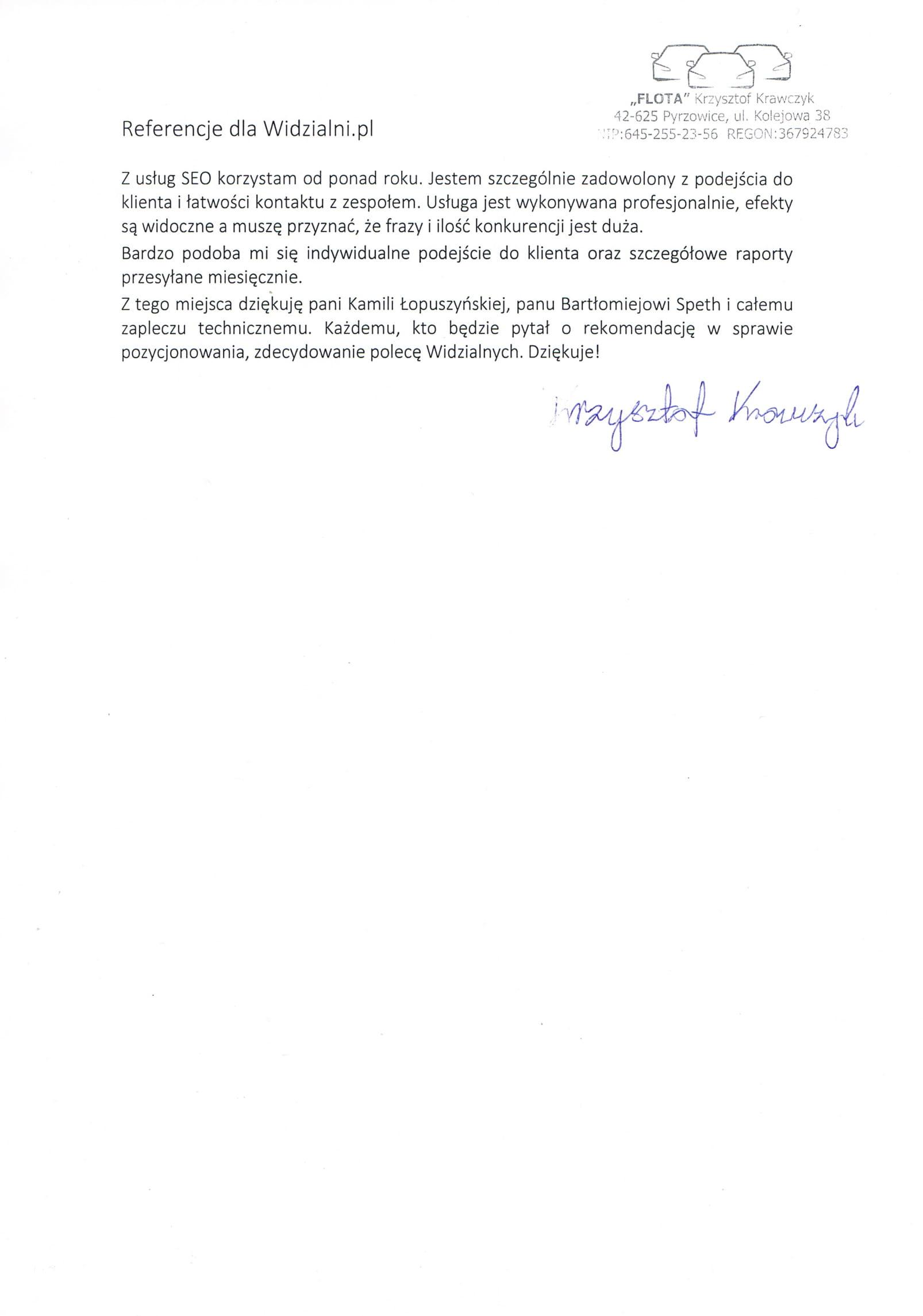 Referencje FLOTA Krzysztof Krawczyk