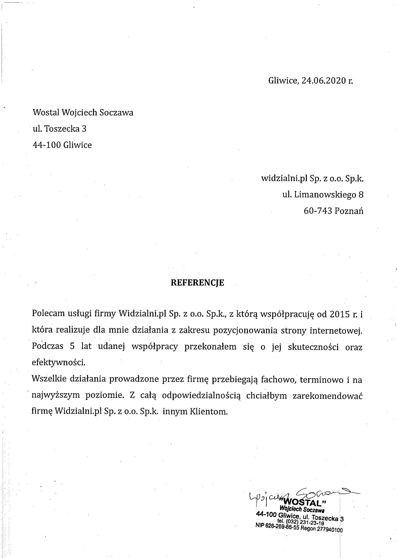 Referencje Wostal Wojciech Soczawa
